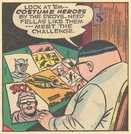 Herbie looks over pictures of real costume heroes, including Skyman , a costume hero drawn by Ogden Whitney in the 1940s.