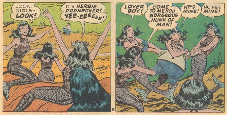 More mermaids, now fighting over Herbie like fans.