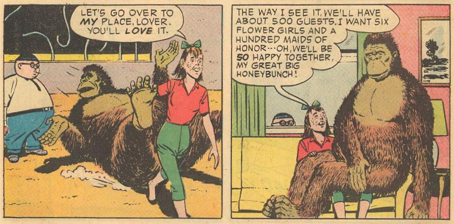 The girl of Herbie's dreams (Hepzibah Higgins, a buck-toothed lollipop heiress) goes for Herbie's friend, Gilmartin the gorilla.