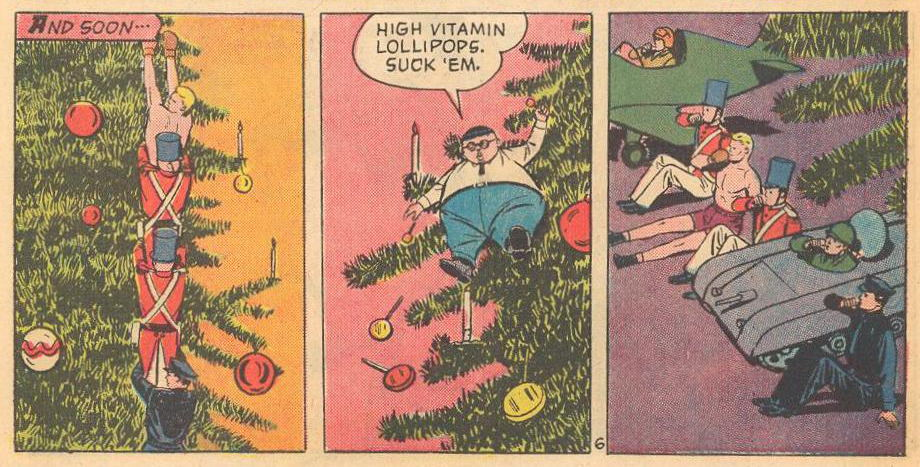 Herbie enlists the help of tree ornaments and gives them lollipops