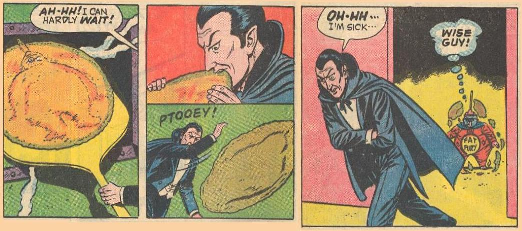 Fat Fury is baked into a pizza and Dracula gets sick after taking a bite.