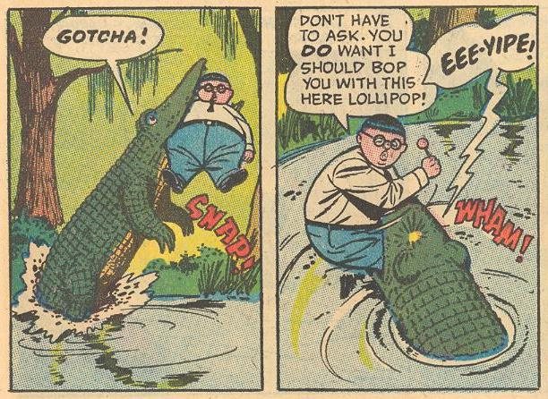 """A crocodile is after a """"fatburger"""" SNAP!"""