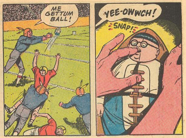 Herbie is disguised as the football and helps out the team by biting an opposing player SNAP!