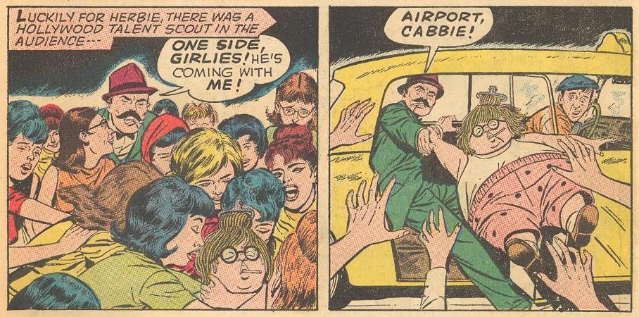 "In #5b , Herbie as a ""Beetle"" named ""EIBREH REKCENPOP"" is stripped by adoring fans."