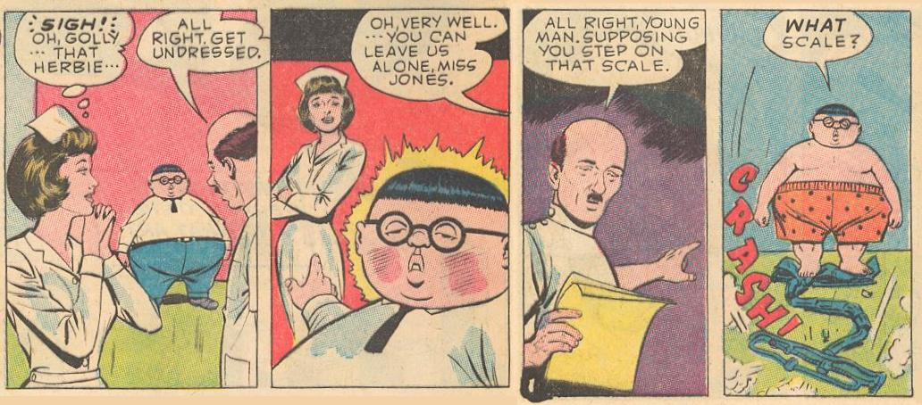 In #10b , the nurse swoons over Herbie, but he is bashful.