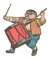 Herbie, playing drum in fife and drum corps