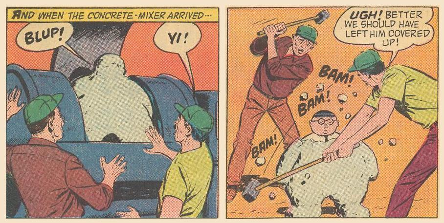 Herbie finds himself coated with cement, but some workers break him out .