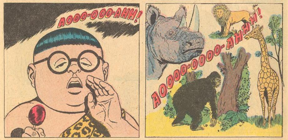 In FW #114 , he is Tarzan-like, calling all animals.