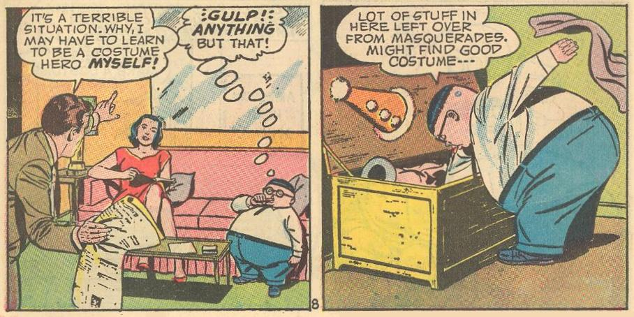 """When Dad gets the idea to become a costume hero himself, Herbie thinks """"anything but that!"""" and goes into a chest of costumes."""