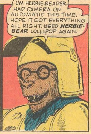Herbie addresses the reader while he poses for the camera.