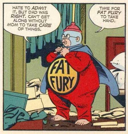 """In """"Beautiful Mom"""", Herbie appears as the Fat Fury, not really in character, but wearing the right costume."""