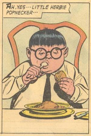It makes sense that Herbie would be eating in his debut in Forbidden Worlds #73 .