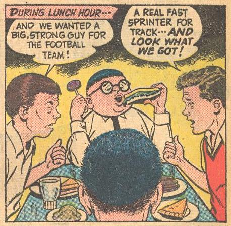 In Forbidden Worlds #94 , he's eating while holding a lollipop .