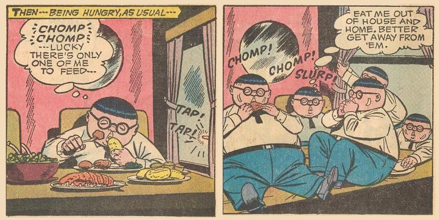 Later in #9a , Herbie's doubles move in on a large meal.