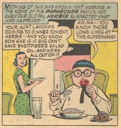 In Forbidden Worlds #110 , Herbie is licking a lollipop while holding a spoon dripping with perhaps ice cream.