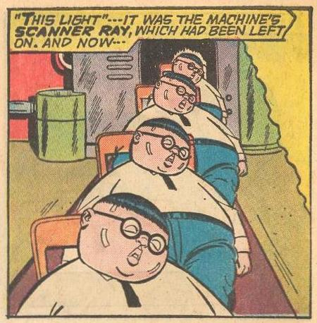 In #9a , Four Herbies come out of Professor Flipdome's duplicator, but...