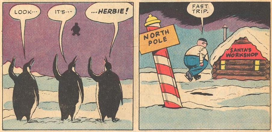 In #14b , unless Herbie took the long route, he would not have met penguins on his way to the North Pole.