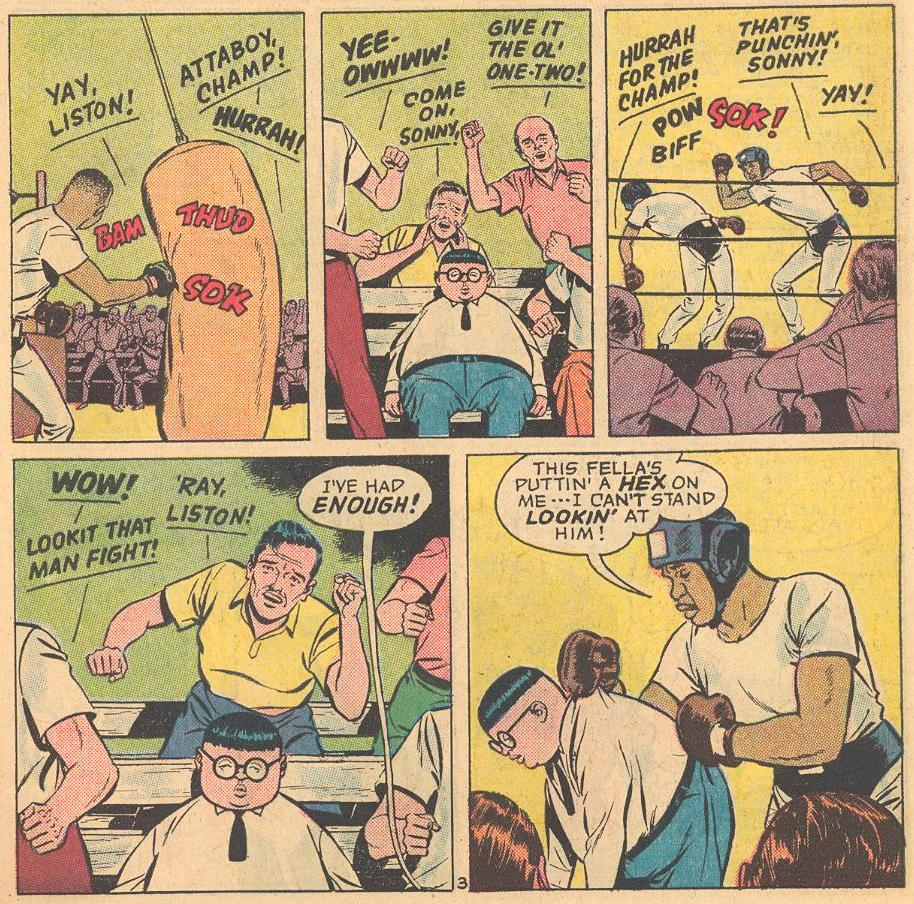 In the first Herbie comic issue, Herbie drives Sonny Liston crazy with his lack of enthusiasm.