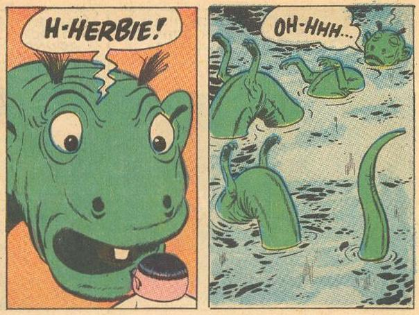 Prime Example : Herbie is recognized and the sea-monster faints.