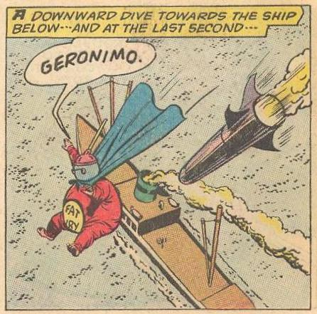 Fat Fury says Geronimo while falling butt first , but never lands.