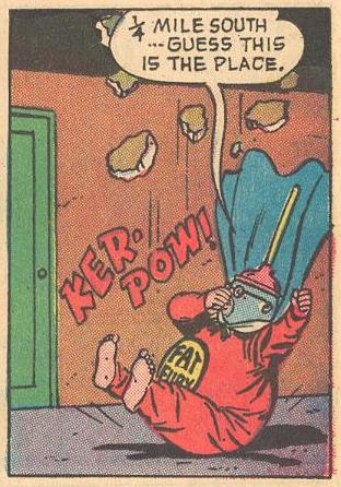 Holding his nose, the Fat Fury drops in KER-POW!
