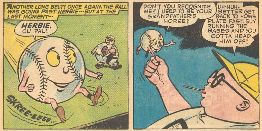 Herbie is recognized by a baseball who used to be his grandfather's horse.
