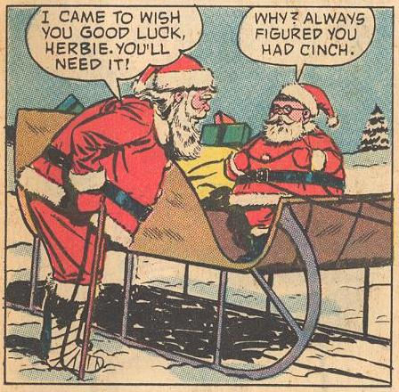 Santa wishes Herbie good luck.