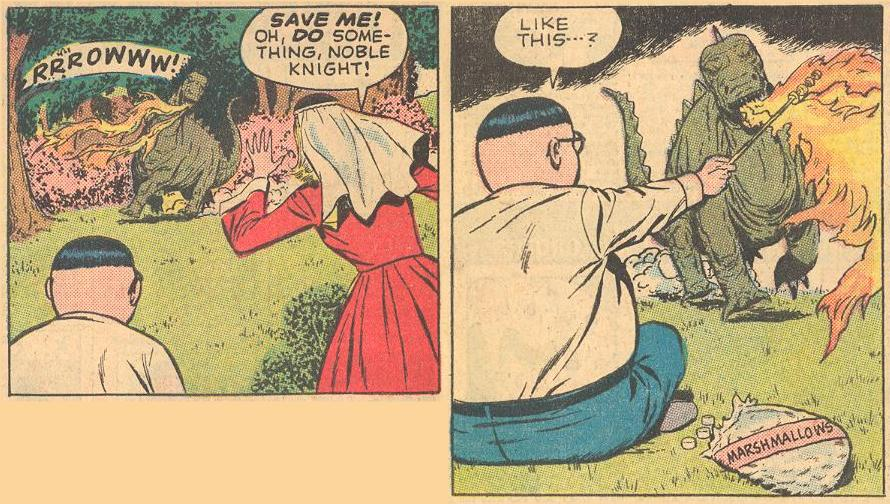 In #1a , Herbie is asked to do something about the charging dragon, and he happens to have a bag of marshmallows handy.