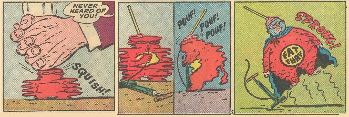 In #8a , a squished Fat Fury uses a handy bicycle pump to reinflate.