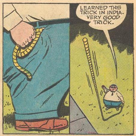 In #9b , Herbie just happens to have a rope handy for a rope trick.