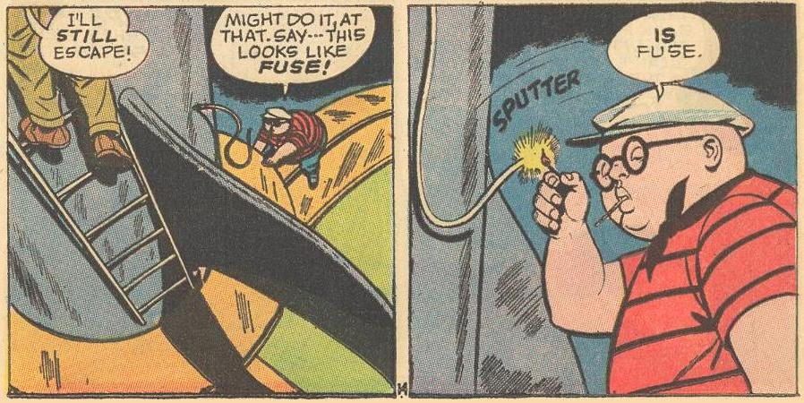Herbie has a match handy to light a rocket's fuse.