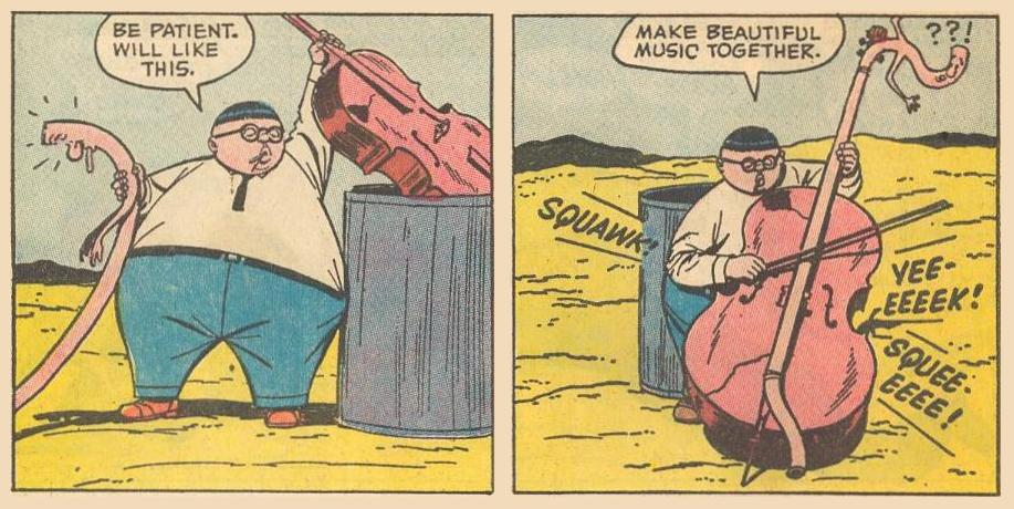 In the middle of the desert, Herbie finds a discarded bass fiddle.