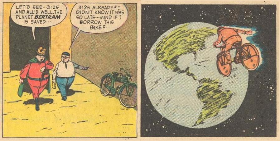 Herbie is in a rush, so he rides a bike in space .