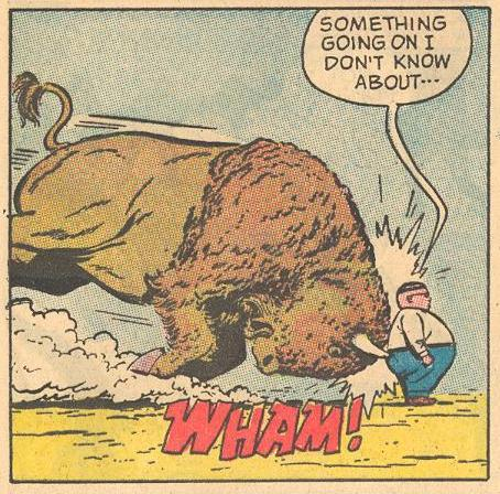 In #4a , Herbie barely notices a charging buffalo.