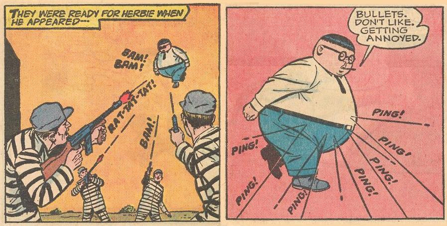 In #9a , Herbie is annoyed by bullets as they bounce off him harmlessly...