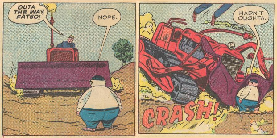 In #10b , a bulldozer is destroyed running into Herbie.