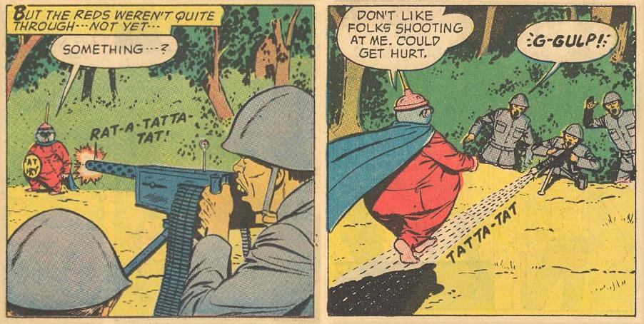 In #16a , Herbie again uses a stream of bullets to walk on.
