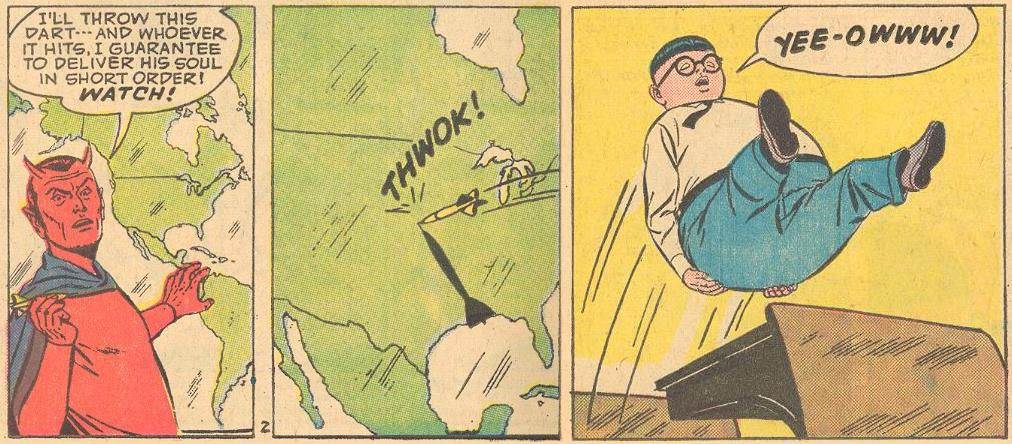 I was amused by this November 1963 butt joke sight gag from Forbidden Worlds #116 with the dart and the target.