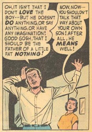 Dad uttering the famous name for the first time in Forbidden Worlds #73 , and Mom defends Herbie .
