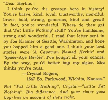 "The correct order for ""Little Fat Nothing"" is discussed in a letter in Herbie #10 ."
