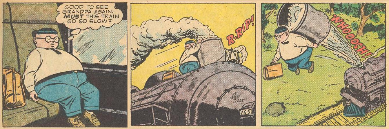 In #3a , Herbie gets impatient with the slowness of the train, so he blows its stack.