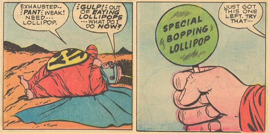 In #16a , out of eating lollipops, Herbie eats a special bopping lollipop.