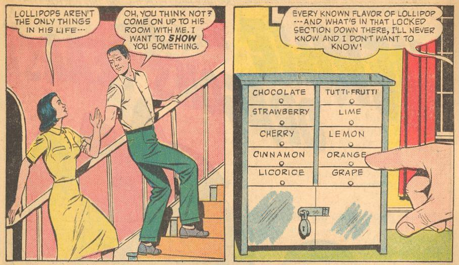 In Herbie #1a , we are introduced to Herbie's lollipop chest and his father's concern about it.