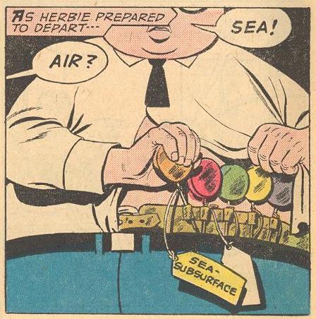 We see Herbie's lollipop belt, sort of like Batman's utility belt, but more effective, and funnier.