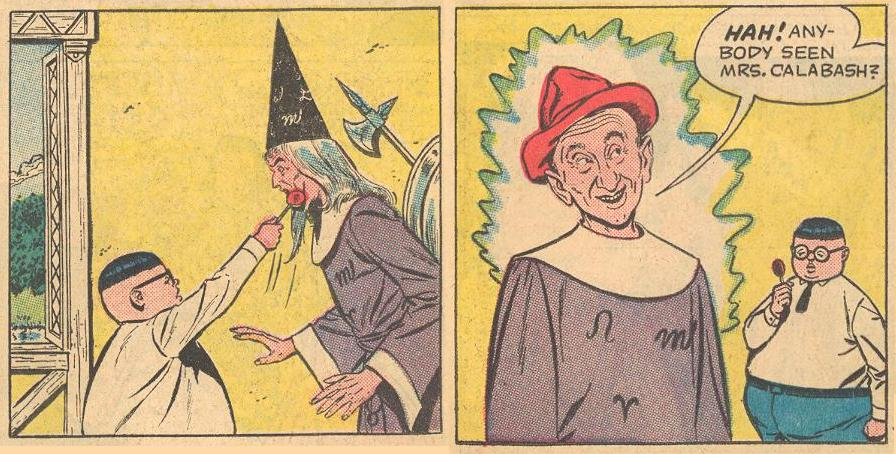 In #1a , Herbie turns Merlin into Jimmy Durante...