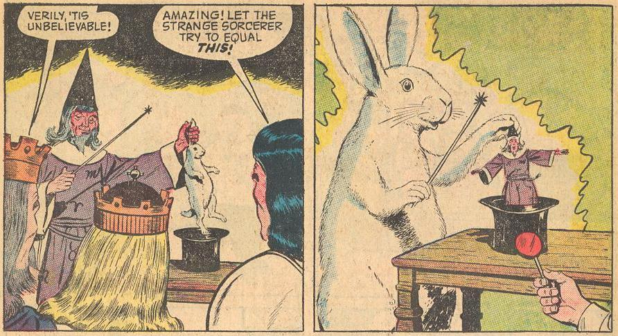 Prime Example : ...and when Merlin pulls a rabbit out of a hat, Herbie makes a rabbit pull Merlin out of the hat.