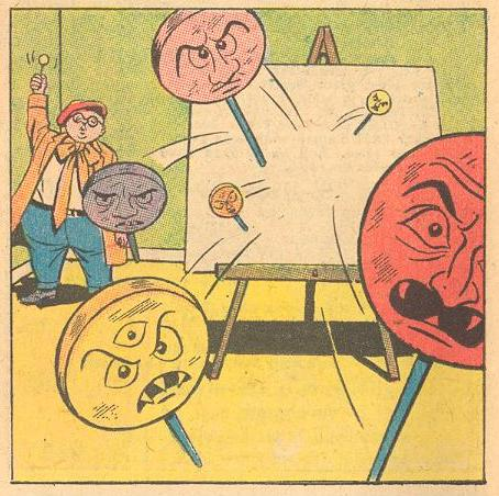 In Forbidden Worlds #116 , Herbie waves a lollipop to direct an attack of magic lollipops.