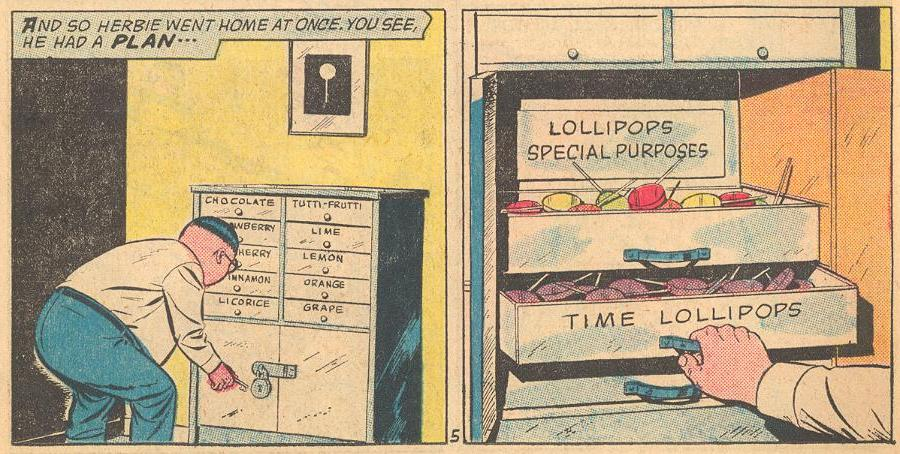 Herbie's chest of lollipops is well organized.