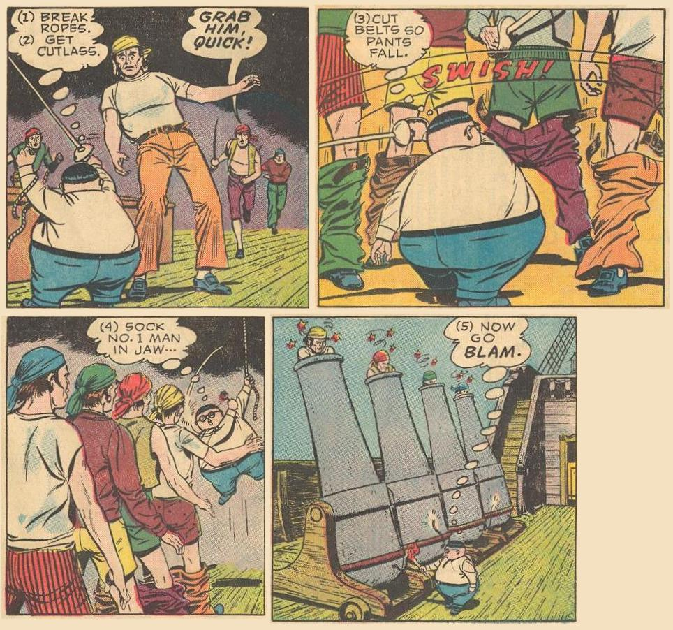 Herbie beats a pirate ship crew methodically.
