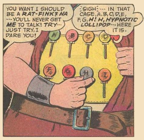 Herbie's lollipop belt is organized alphabetically.